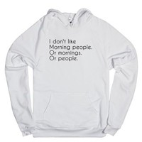 Morning people-Unisex White Hoodie