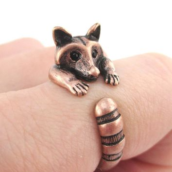Adorable Raccoon Wrapped Around Your Finger Shaped Animal Ring in Copper