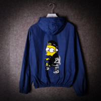 Men 's thin coat windbreaker spoof cartoon Simpson ultra - thin sun clothing coat lovers Blue