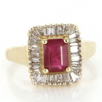 Vintage 14 Karat Gold Diamond Ruby Square Cocktail Ring Estate Fine Jewelry Pre Owned