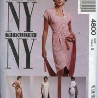 90s Vintage McCalls Pattern 4800 NY NY Series Dress 2 lengths + Scarf Size 8