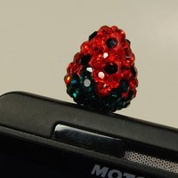 Rhinestone Strawberry Red/ Black Cell Phone Dust Plug Iphone Ipad 1 each
