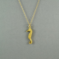 Seahorse Necklace, 24K Gold Vermeil, 14K Gold Filled Chain, Modern, Simple, Cute, Everyday Wear Jewelry