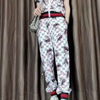 """Gucci"" Women's Leisure  Fashion Letter Personality Printing Zipper Spell Color Short Sleeve Trousers Two-Piece Casual Wear"