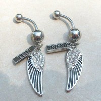 Best friends belly button rings w wings and crystals 14gauge 12mm bar
