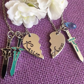 Sword Art Online - Kirito and Asuna Couples keychain set - Elucidator - Dark Repulser - Lament Light - Yui's Heart - jewelry