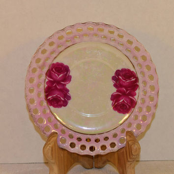 Pink Lace Opalescent Plate Vintage Pink Roses Trinket Dish Shabby Chic Open Lace Small Pink Plate Dessert Salad Side Decoration Plate