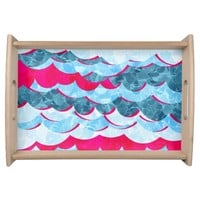 Abstract Sea Waves Design Serving Tray