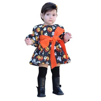 Baby Girls Dress Auttmn Pumpkin Ghost Print Dresses Halloween Costume For Kids Clothes Toddler Infant Girl Cotton Dress Outfits