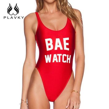 PLAVKY Sexy One Piece Swimsuit Backless Bodysuit Women Swimwear Monokini Red Rompers Womens Jumpsuit High Cut Summer Beachwear