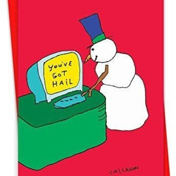 12 Humorous Christmas Greeting Card Featuring a Snowman Checking Its Messages, with Envelope.