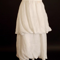 PRADA-1990s White Tiered Linen Bubble Skirt, Size-6