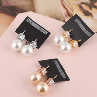 Stylish Transparent Crystal Pearls Earrings [6048575617]