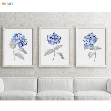 Canvas Painting Hydrangea Minimalist Watercolor Prints Botanical Plant Nature Fine Art Floral Wall Art Gray Blue Flower Picture