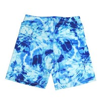 Fit 2 Win Spandex Crazy Compression Shorts - Women's - Blue Tie Dye - Blue Tie Dye-M