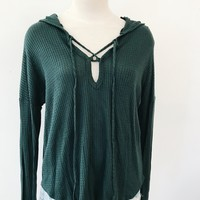 THERMAL TIE FRONT HOODIE- HUNTER GREEN