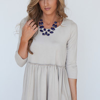Faux Suede Gathered Waist Tunic - Greige