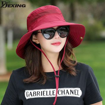 Summer Bucket Hat Breathable Mesh Beach Hats Man Wide Brim Sun Gorra Mujer women's Outdoors Foldable UV Protection Fishings Caps