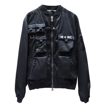 "MRCNOIR ""M+RC"" BLACK MULTIPOCKET BOMBERS JACKET"
