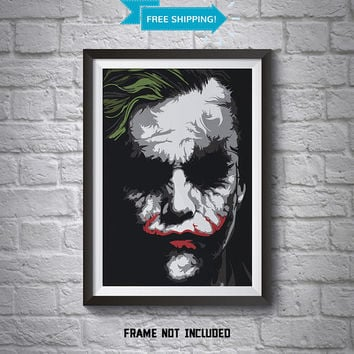Heath Ledger Joker Abstract Poster - Wall Art Poster - A4 Poster - Batman Poster - Printed Movie Poster - Boys Room Decor - Joker Print