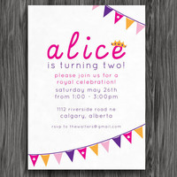 Printable Birthday Party Invitation - Pink and Purple Princess