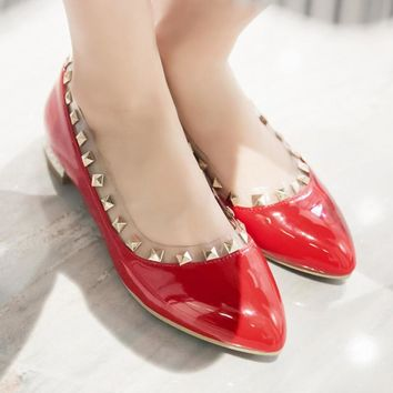 Japanese sweet casual style comfortable round toe paint loafers fashion rivet slip black white red women's flat shoes big size