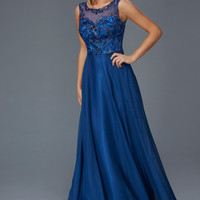 G2106 Chiffon Fit and Flare Chiffon Prom Dress Evening Gown