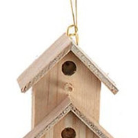 Darice 9157-82 Unfinished Natural Wood Craft Double Bird House with Front House, 2-Inch