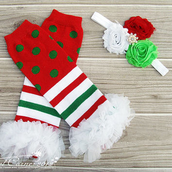 Christmas Leg warmer Set ,Baby Headband,Tutus Legwarmer,Baby Christmas Outfit,Baby Photo Prop,Baby Legwarmer Set,Baby Leggings,Headband Set