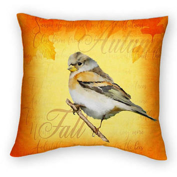 Autumn Vintage Style Bird Throw Pillow, Orange Yellow 16x16 18x18 20x20, Gardener Gift, Country Style