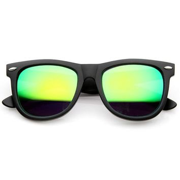 Retro Oversize Horned Rim Sunglasses With Flash Mirror Lens 9634