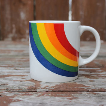 Vintage Rainbow Coffee Mug - Made in Korea - Retro Kitchen