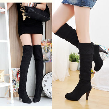 New Fashion Women's Shoes Over The Knee Thigh Stretchy High Heels Boot Four Size Black Brown Sexy