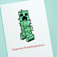 Minecraft Christmas Creeper Note Card