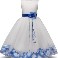Girl's Lace Flower Petals Flower Girl Gown, Formal Party Dress