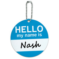 Nash Hello My Name Is Round ID Card Luggage Tag