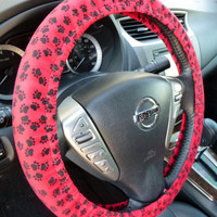 Handmade Steering Wheel Cover  puppy dog paw print red