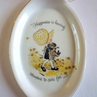 """Holly Hobbie Porcelain Wall Plate, Collector's Plate """"Happiness is having Someone to Care for"""""""