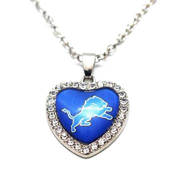 1pcs Heart Crystal Necklace Football Detroit Lions Glass Pendant Necklace Silver 50cm Chains Necklace For Women Necklace Jewelry