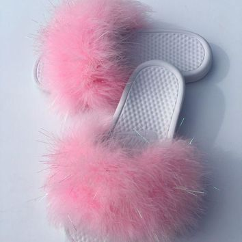 ONETOW Nike Candy Pink and white faux fur  slides