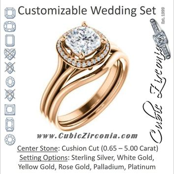 CZ Wedding Set, featuring The Jaci engagement ring (Customizable Cathedral-set Cushion Cut Design with Split-Band and Halo Accents)