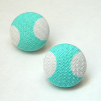 Button Earrings Tiffany Blue- White Polka Dots Nickel Free