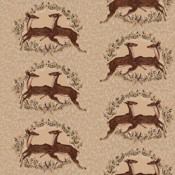 Jessica Roux's Jumping Deer Pattern Removable Wallpaper
