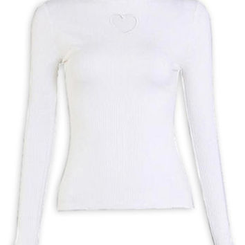 White High Neck Cut Out Front Long Sleeve Sweater