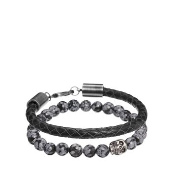 Simon Carter Leather And Semi Precious Bracelet Pack Exclusive To Asos