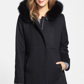 Sachi Genuine Fox Fur Trim Hooded Wool Blend Coat (Regular & Petite) | Nordstrom