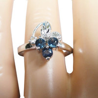 Grapes Ring Vintage Blue Sapphire 925 Sterling Silver - Size 7