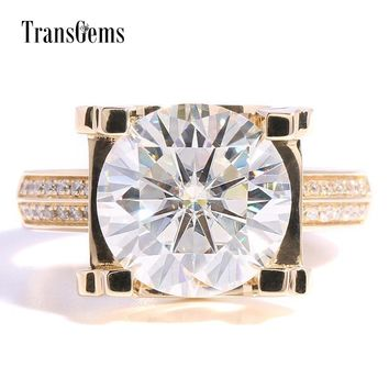 Transgems  5ct Carat Lab Grown Moissanite Wedding Engagement Rings Solid 14K Yellow Gold Lab Diamonds Accents Woman Band