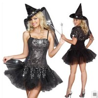 Free Shipping Witch Costume Halloween Costume Halloween carnival costumes Cosplay queen