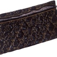 Quilted Jewelry Pouch for Travel Black Zippered with Christmas Design 6x10.5 In.